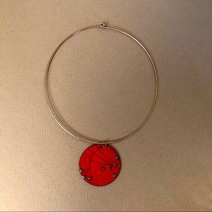 Vintage orange enamel disc necklace